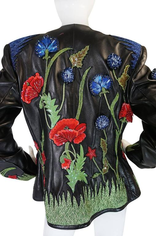 1987 Jean-Claude Jitrois Lesage 3D Floral Leather Jacket For Sale 1