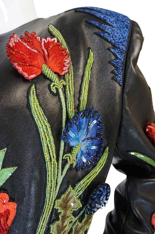 1987 Jean-Claude Jitrois Lesage 3D Floral Leather Jacket In Excellent Condition For Sale In Toronto, ON