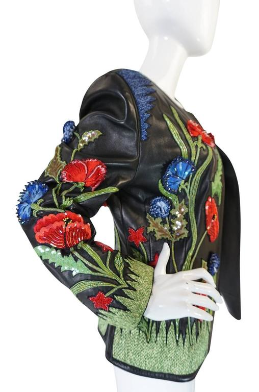 Women's 1987 Jean-Claude Jitrois Lesage 3D Floral Leather Jacket For Sale