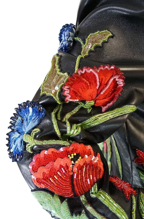 1987 Jean-Claude Jitrois Lesage 3D Floral Leather Jacket For Sale 2