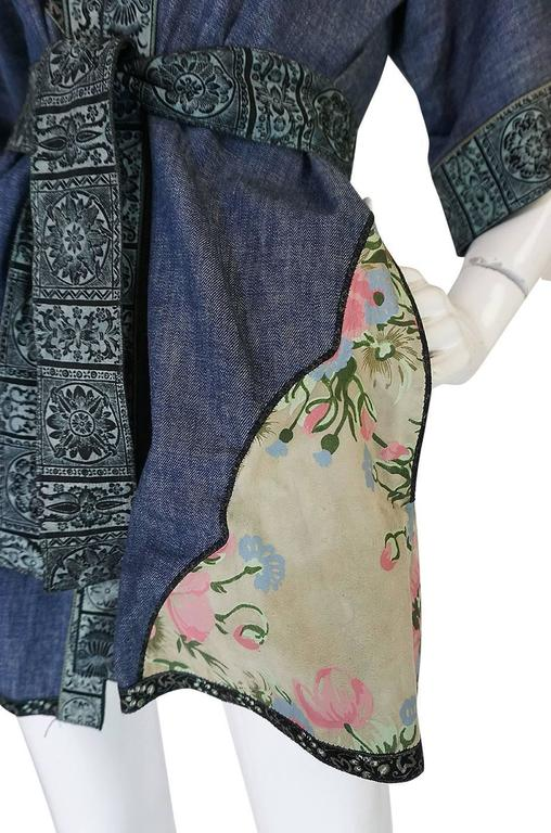 Early 1970s Roberto Cavalli Denim & Painted Leather Jacket 7