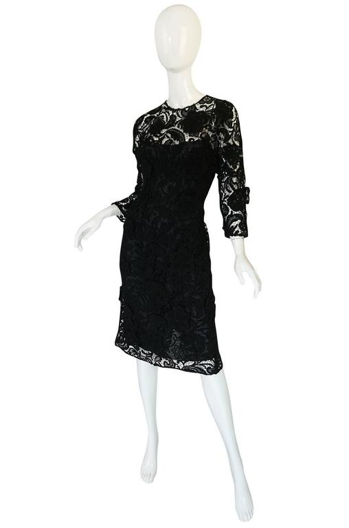 F/W 2008 Prada Runway Wait Listed Black Lace Dress In Excellent Condition For Sale In Toronto, CA