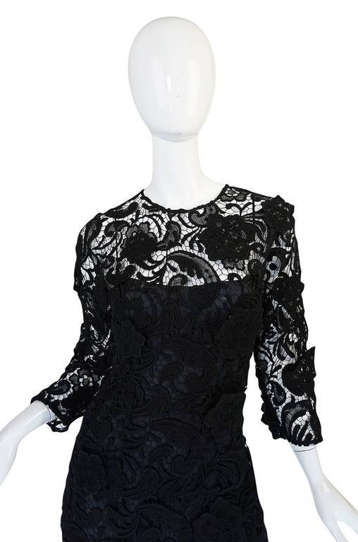 F/W 2008 Prada Runway Wait Listed Black Lace Dress For Sale 1