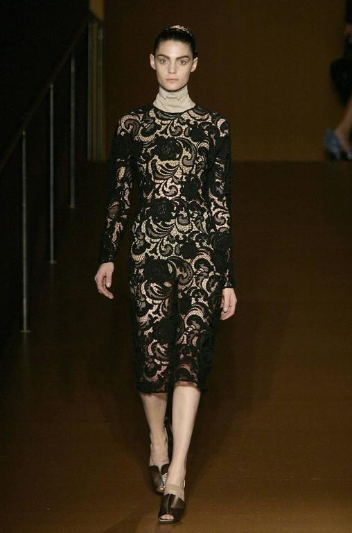 Women's F/W 2008 Prada Runway Wait Listed Black Lace Dress For Sale
