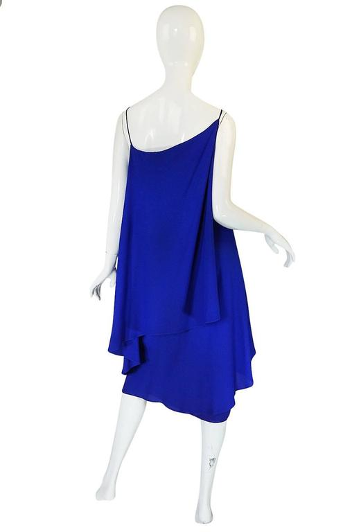 1980-82 Ruffled Halston Spiral Dress in Royal Blue Silk 2