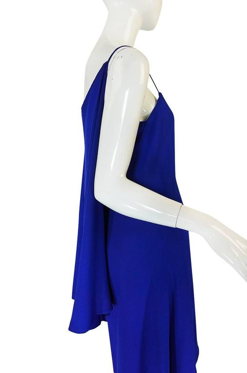 1980-82 Ruffled Halston Spiral Dress in Royal Blue Silk 4