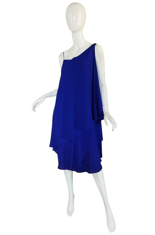 1980-82 Ruffled Halston Spiral Dress in Royal Blue Silk 3