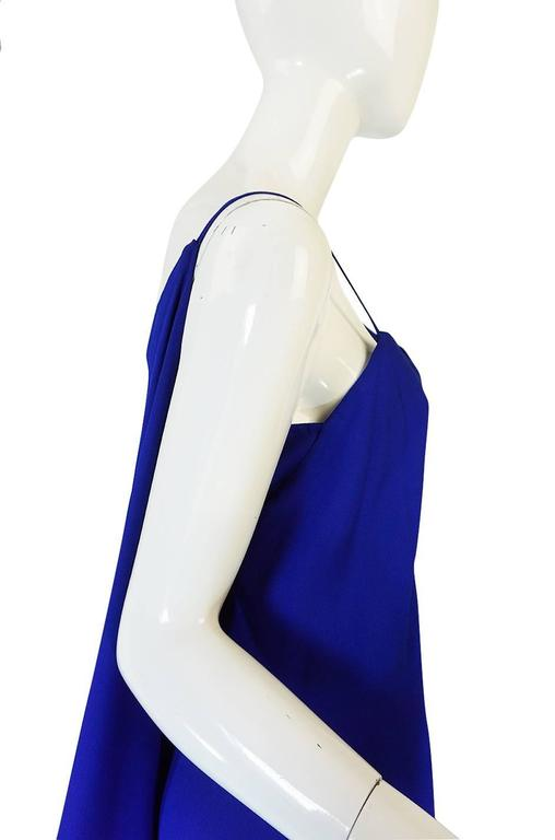 1980-82 Ruffled Halston Spiral Dress in Royal Blue Silk 5