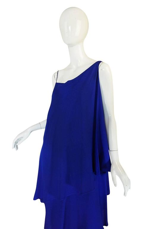 1980-82 Ruffled Halston Spiral Dress in Royal Blue Silk 6