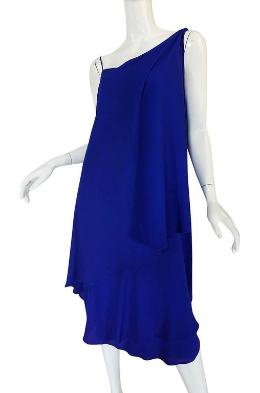 1980-82 Ruffled Halston Spiral Dress in Royal Blue Silk 7