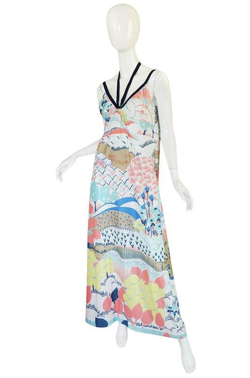 1970s Lanvin Pastel Scenic Printed Jersey Maxi Dress 3