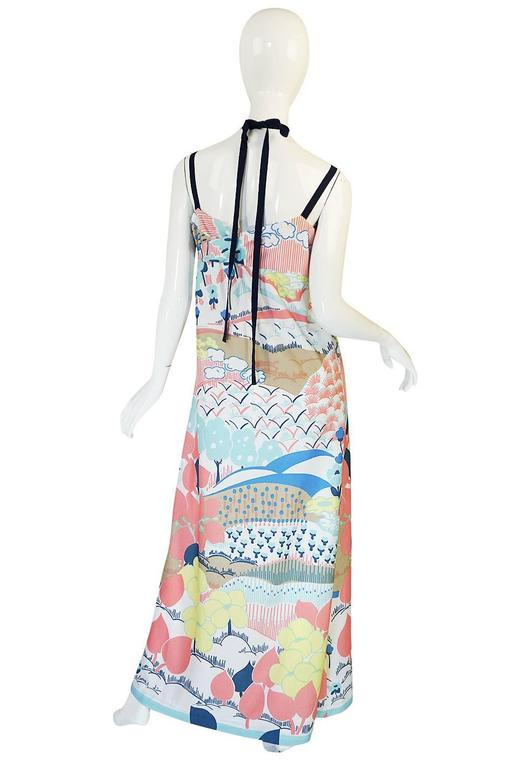 1970s Lanvin Pastel Scenic Printed Jersey Maxi Dress 2