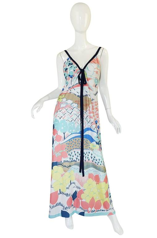 1970s Lanvin Pastel Scenic Printed Jersey Maxi Dress 4