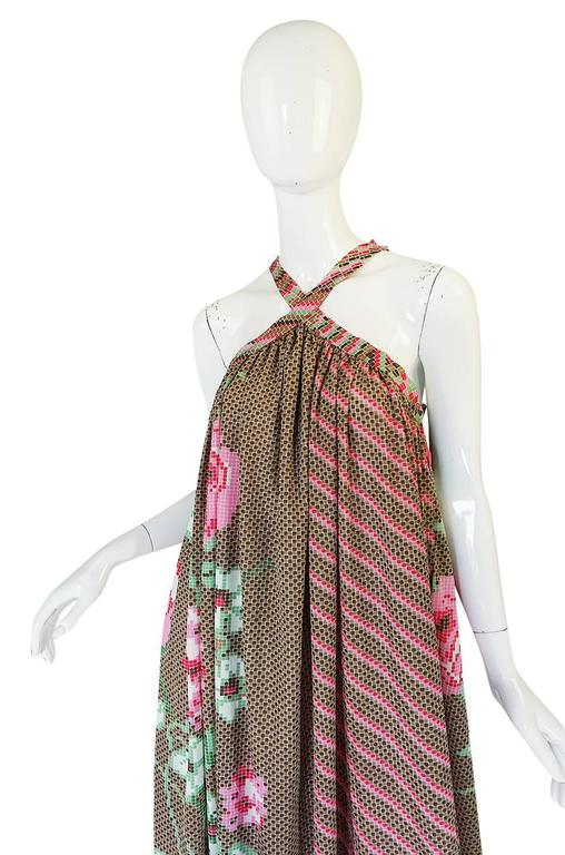 Rare 1970s Yuki Halter Caftan Digital Print Jersey Dress For Sale 3