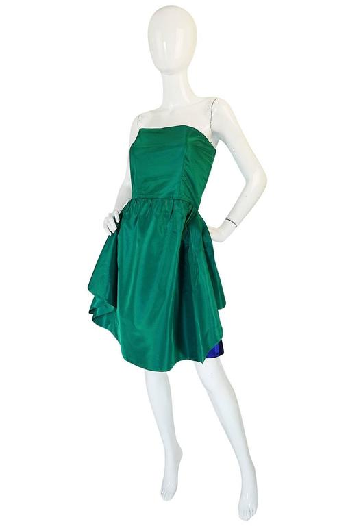 1980s Numbered Lanvin Brilliant Green & Blue Silk Dress In Excellent Condition For Sale In Toronto, CA