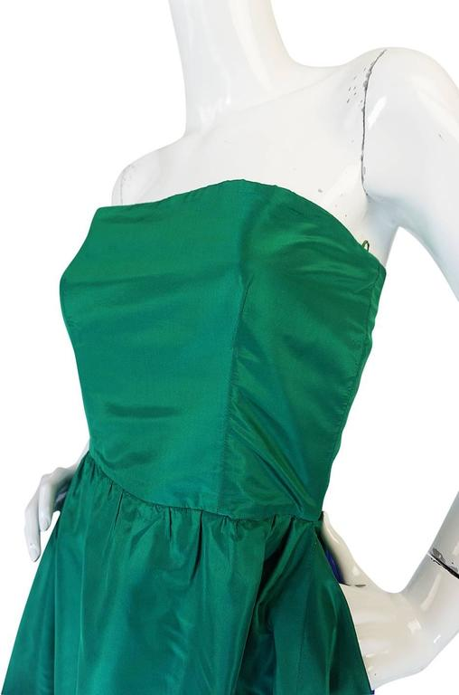 Women's 1980s Numbered Lanvin Brilliant Green & Blue Silk Dress For Sale
