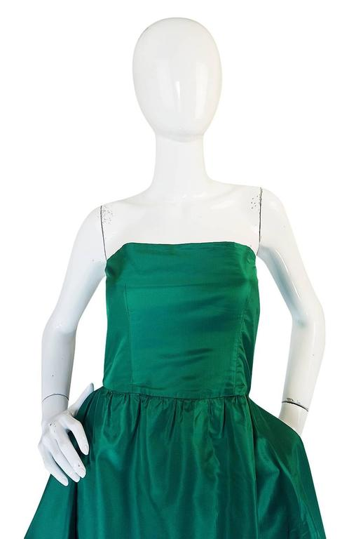 1980s Numbered Lanvin Brilliant Green & Blue Silk Dress For Sale 2