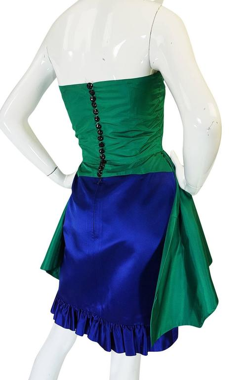 1980s Numbered Lanvin Brilliant Green & Blue Silk Dress For Sale 3
