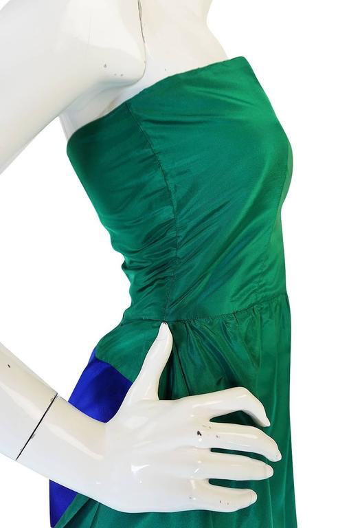 1980s Numbered Lanvin Brilliant Green & Blue Silk Dress For Sale 4