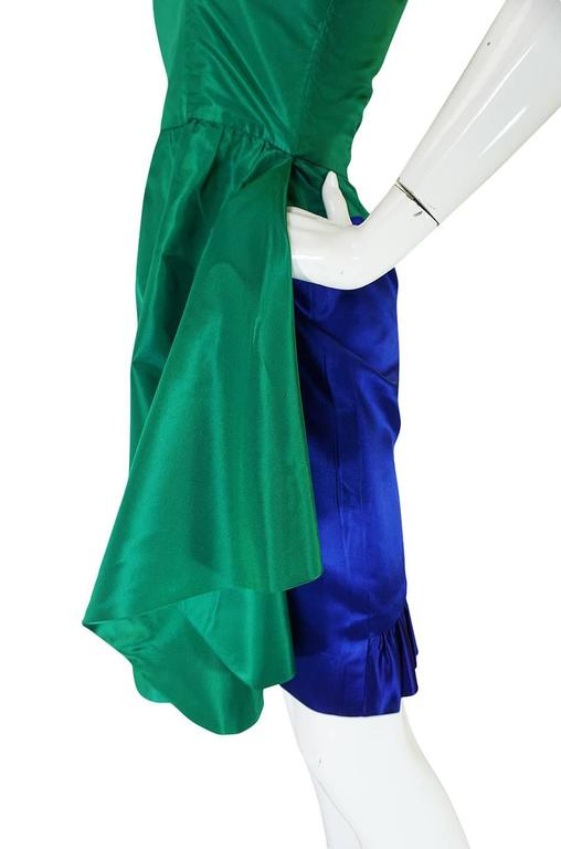 1980s Numbered Lanvin Brilliant Green & Blue Silk Dress For Sale 1