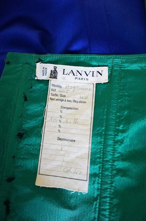 1980s Numbered Lanvin Brilliant Green & Blue Silk Dress For Sale 5