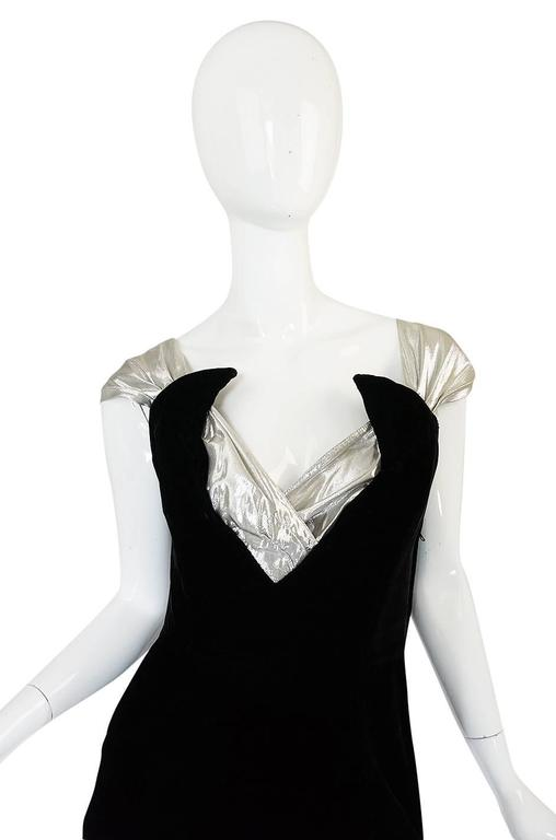 Early 1990s Thierry Mugler Silver Lame & Velvet Dress 3