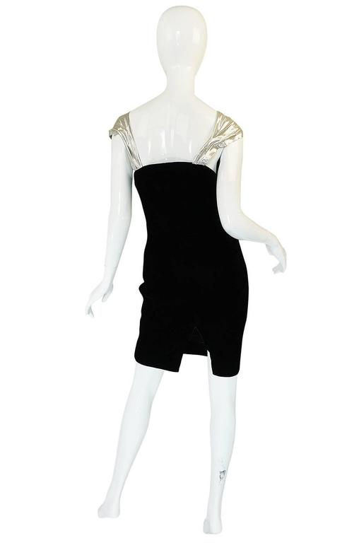 Early 1990s Thierry Mugler Silver Lame & Velvet Dress 2