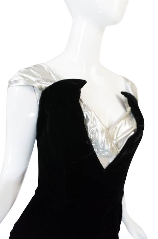 Early 1990s Thierry Mugler Silver Lame & Velvet Dress 5