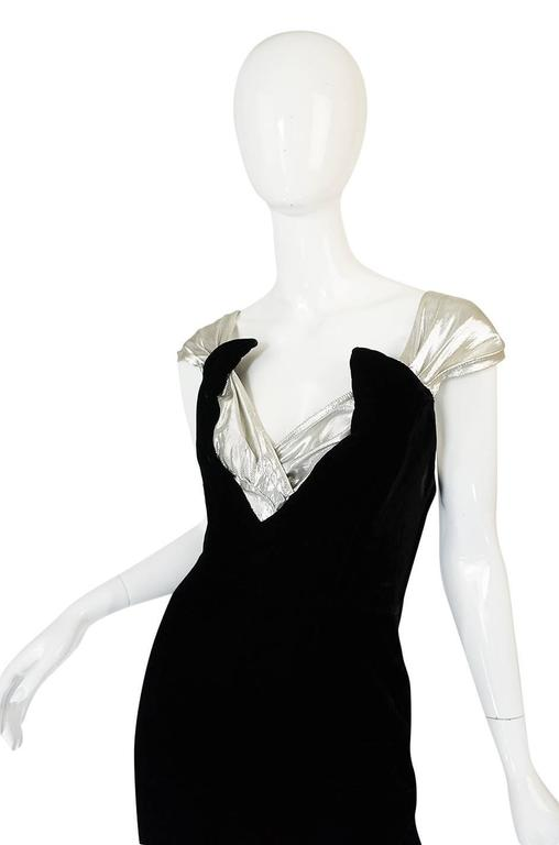 Early 1990s Thierry Mugler Silver Lame & Velvet Dress In Excellent Condition For Sale In Toronto, CA