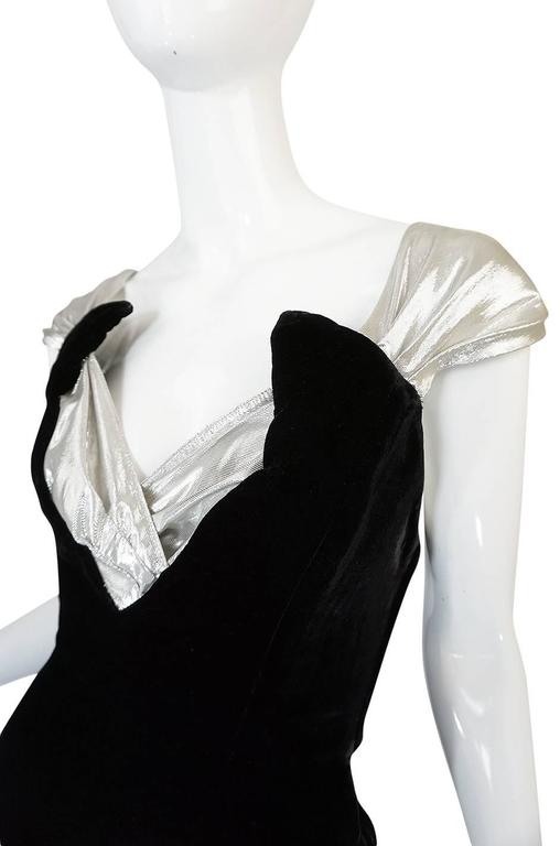 Early 1990s Thierry Mugler Silver Lame & Velvet Dress For Sale 1