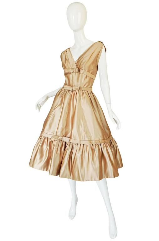 1950s Demi-Couture Christian Dior Gold Silk Bow Dress 2