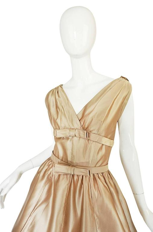 1950s Demi-Couture Christian Dior Gold Silk Bow Dress 5