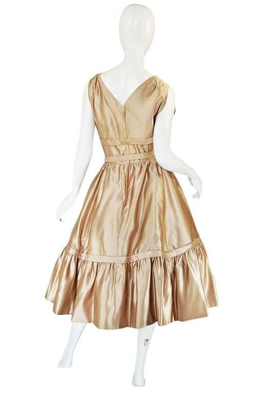 1950s Demi-Couture Christian Dior Gold Silk Bow Dress 3