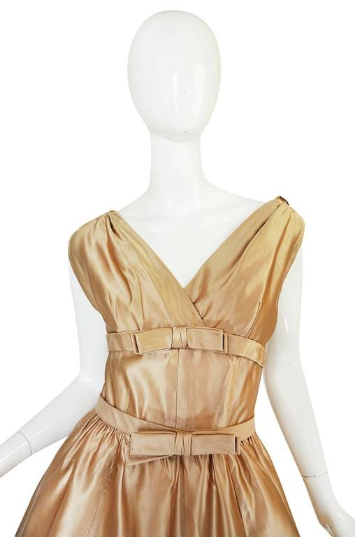 1950s Demi-Couture Christian Dior Gold Silk Bow Dress 4