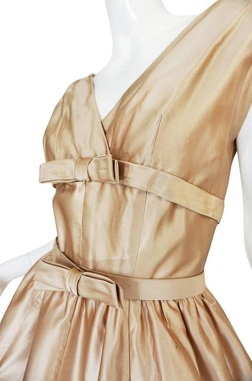 1950s Demi-Couture Christian Dior Gold Silk Bow Dress 7