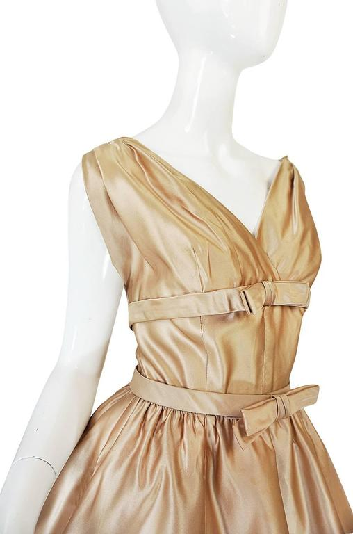 1950s Demi-Couture Christian Dior Gold Silk Bow Dress 6