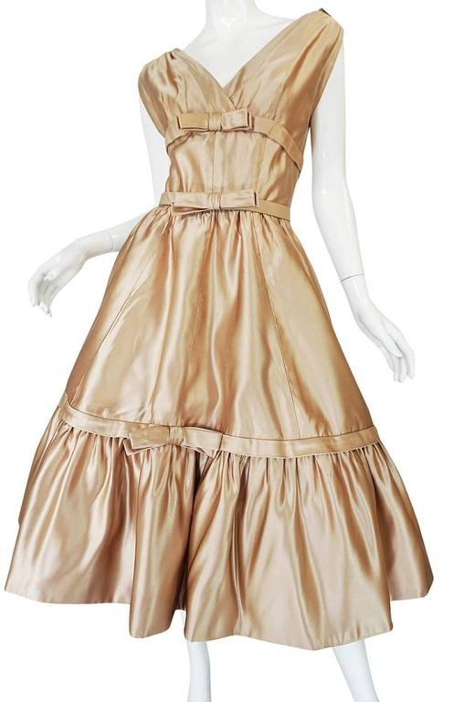 1950s Demi-Couture Christian Dior Gold Silk Bow Dress 8