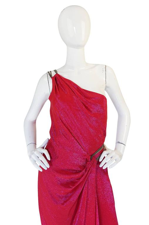 c1992 Thierry Mugler Couture Metallic Pink One Shoulder Dress 7