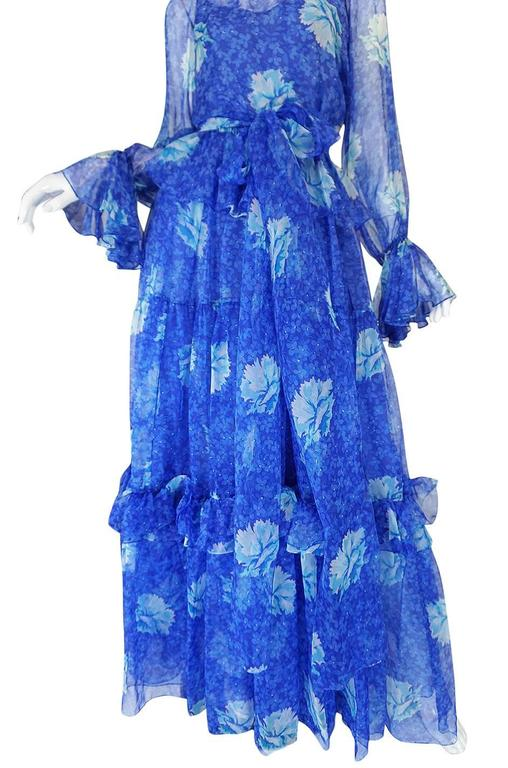 1970s Blue Tiered Floral Silk Chiffon Oscar de la Renta Dress 3
