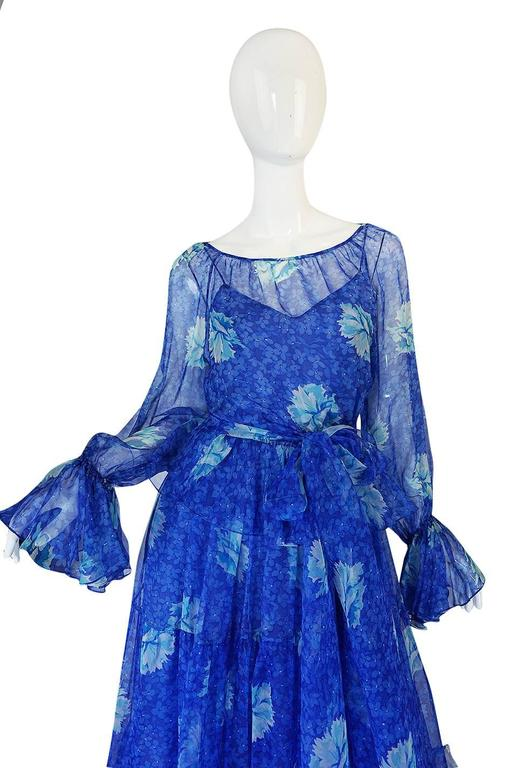 1970s Blue Tiered Floral Silk Chiffon Oscar de la Renta Dress 7