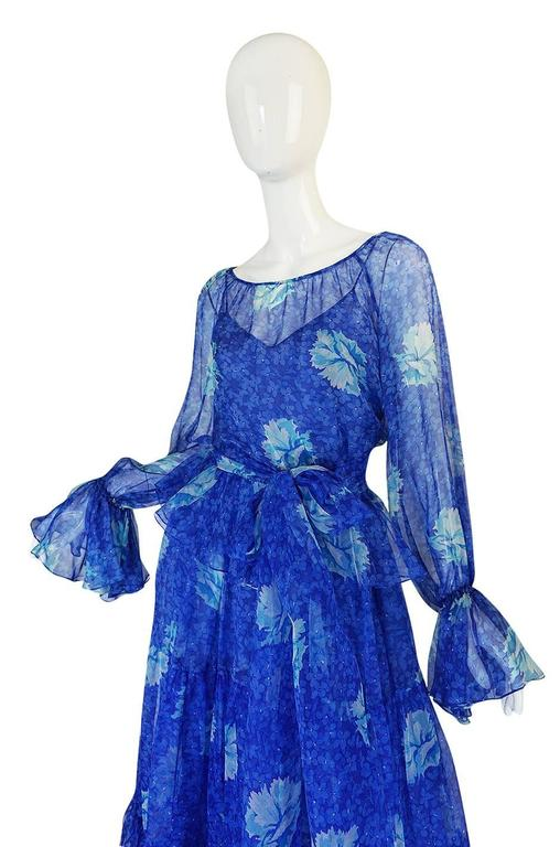 1970s Blue Tiered Floral Silk Chiffon Oscar de la Renta Dress 4