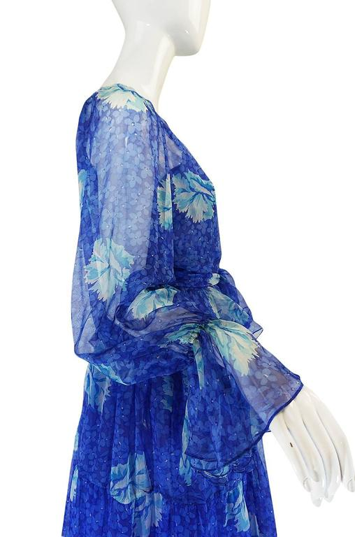 1970s Blue Tiered Floral Silk Chiffon Oscar de la Renta Dress 5