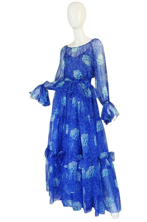 1970s Blue Tiered Floral Silk Chiffon Oscar de la Renta Dress 6