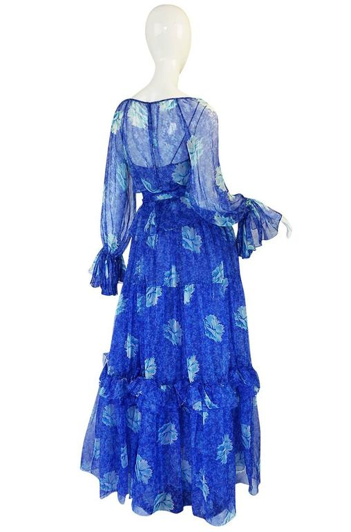 1970s Blue Tiered Floral Silk Chiffon Oscar de la Renta Dress 2