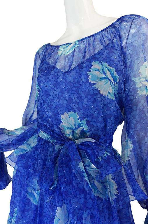1970s Blue Tiered Floral Silk Chiffon Oscar de la Renta Dress 8