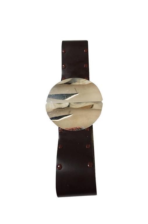 Black 1960s Paco Rabanne Sculptural Silver Metal Circle Belt For Sale