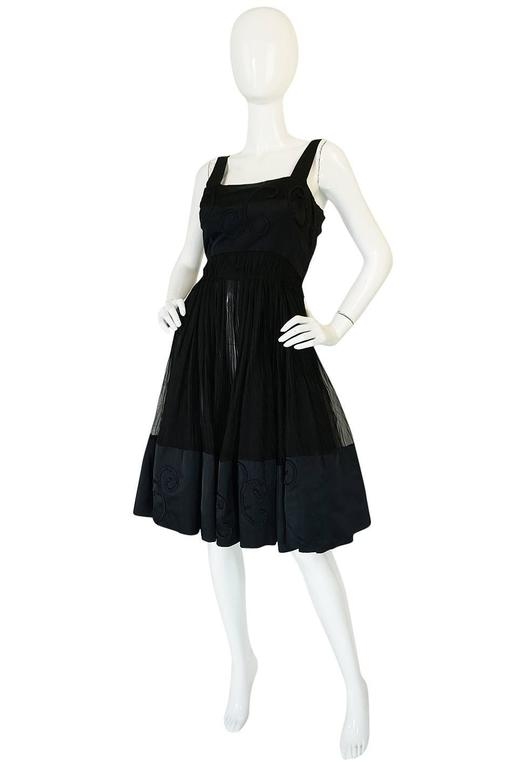 Black Rare c1955 Jean Patou Numbered Haute Couture Silk Dress For Sale