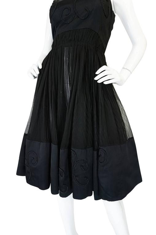 Rare c1955 Jean Patou Numbered Haute Couture Silk Dress For Sale 1