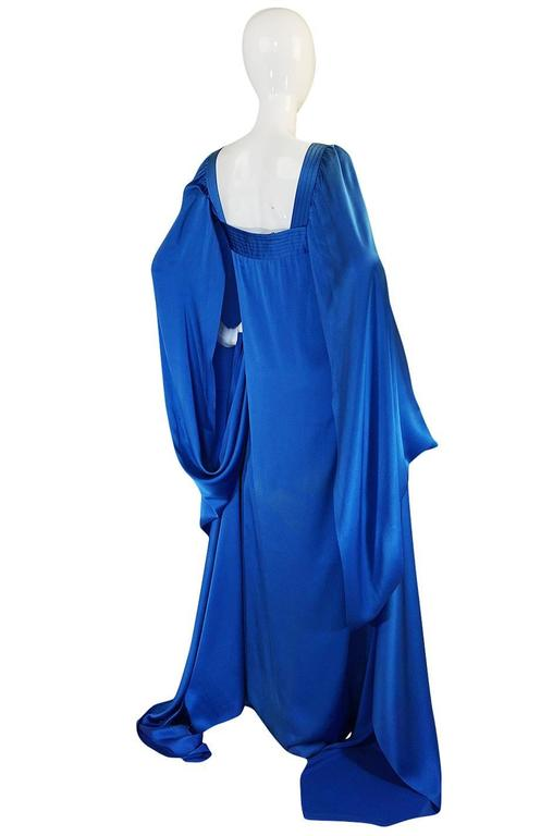 A/W 1978 Christian Dior Numbered Haute Couture Blue Silk Dress 2