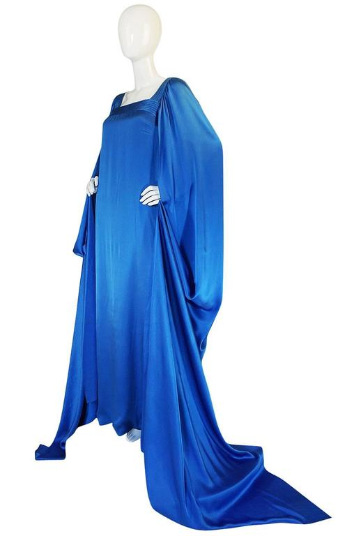 A/W 1978 Christian Dior Numbered Haute Couture Blue Silk Dress 6